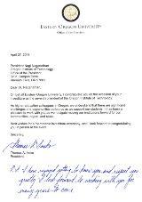 Eastern Oregon University Letter