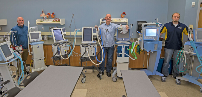 Faculty from Oregon Institute of Technology with some of the 26 machines to be loaned from the University to Sky Lakes Medical Center and Asante Rogue Regional Medical Center