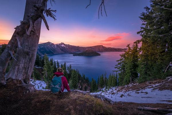 crater-lake-hiker