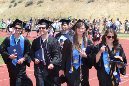 Grads walking on track
