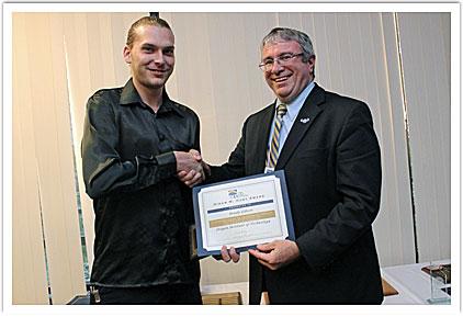 Brady Gibson with President Chris Maples