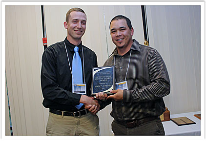 Jimmy Abarca with Dr. C.J. Riley, faculty presenter