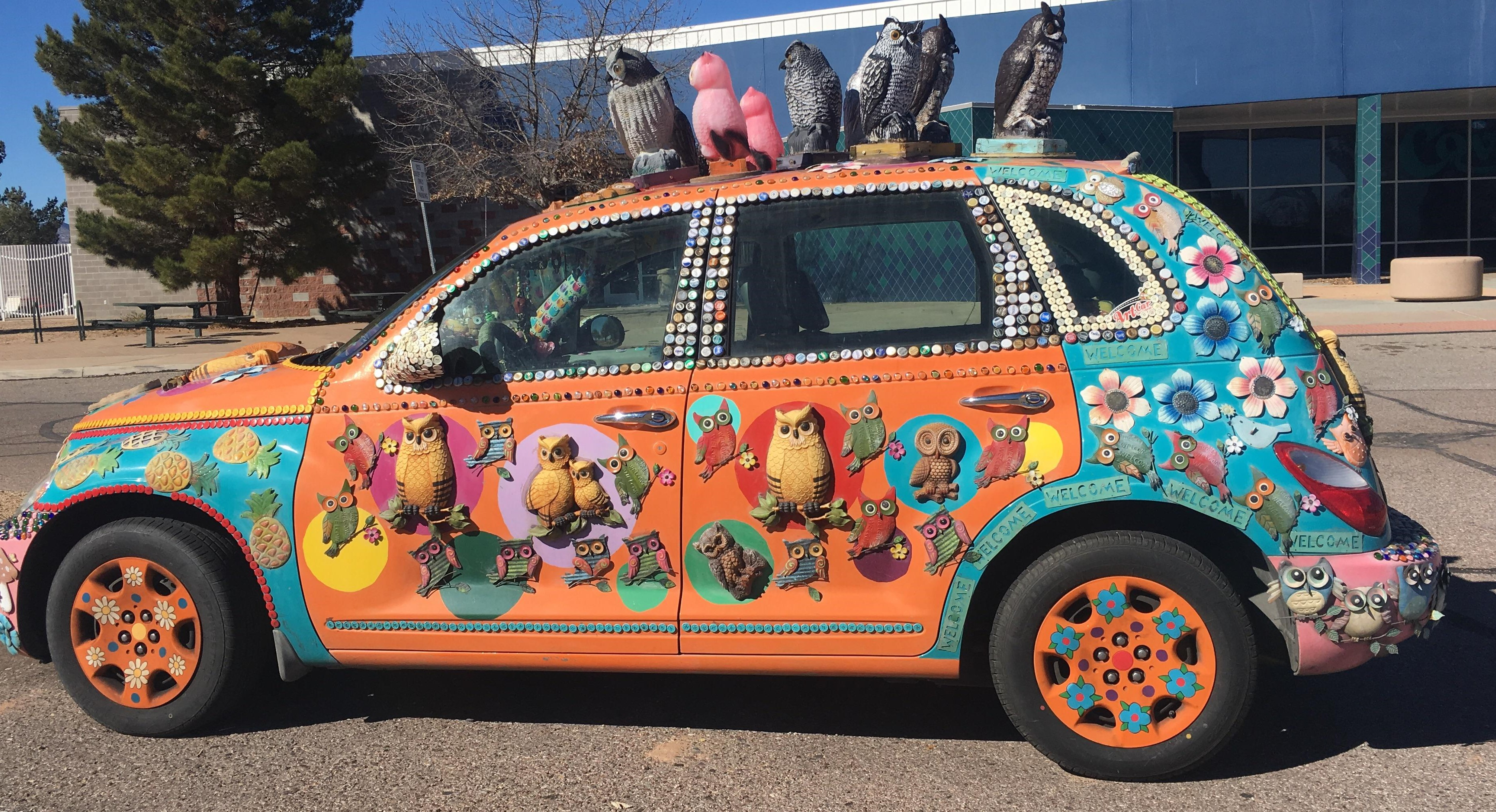 Car with owls
